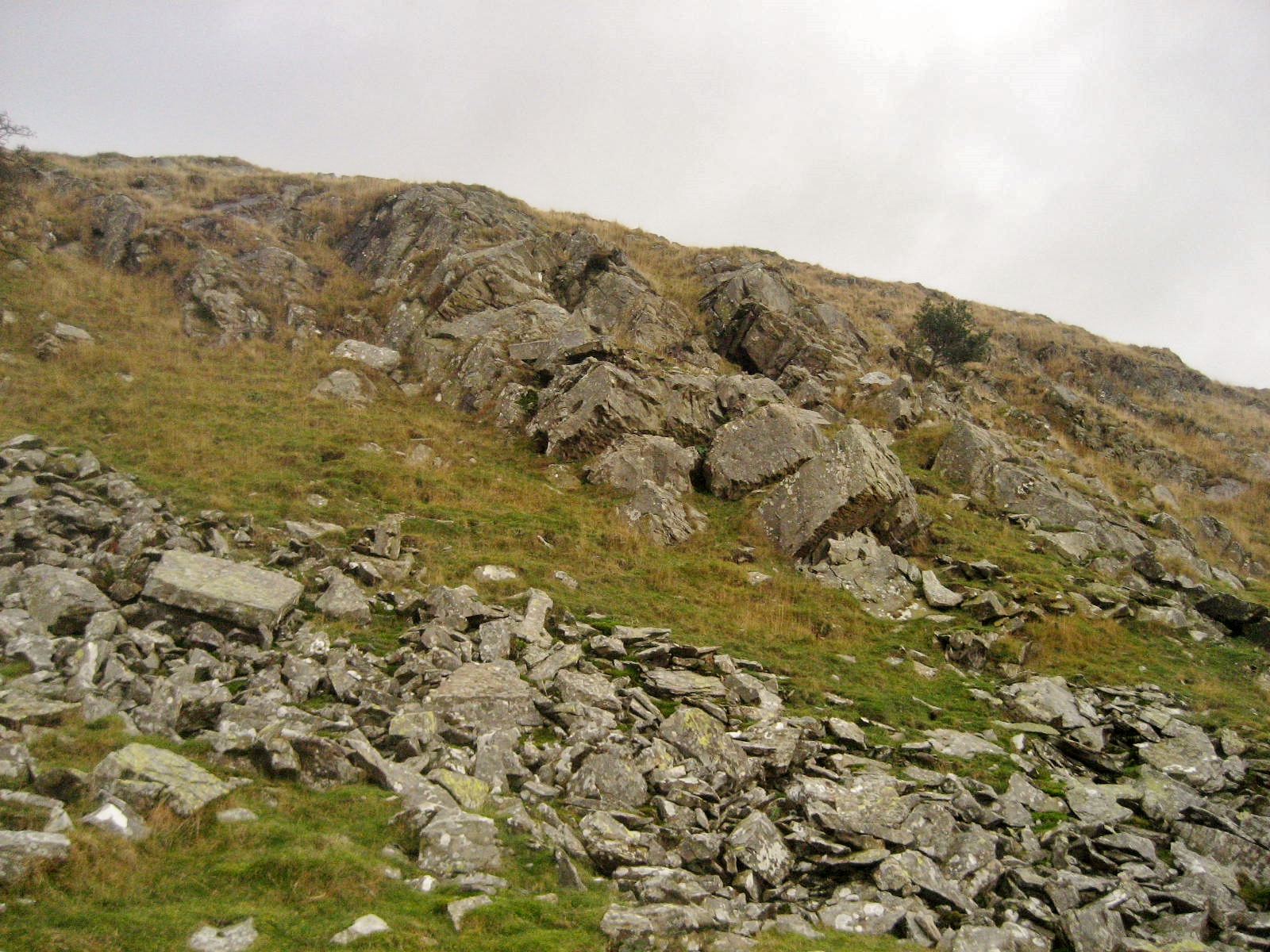 Dipping Silurian beds caused by buckling earth movements, well seen at White Stones in Crummackdale. Stephen Oldfield