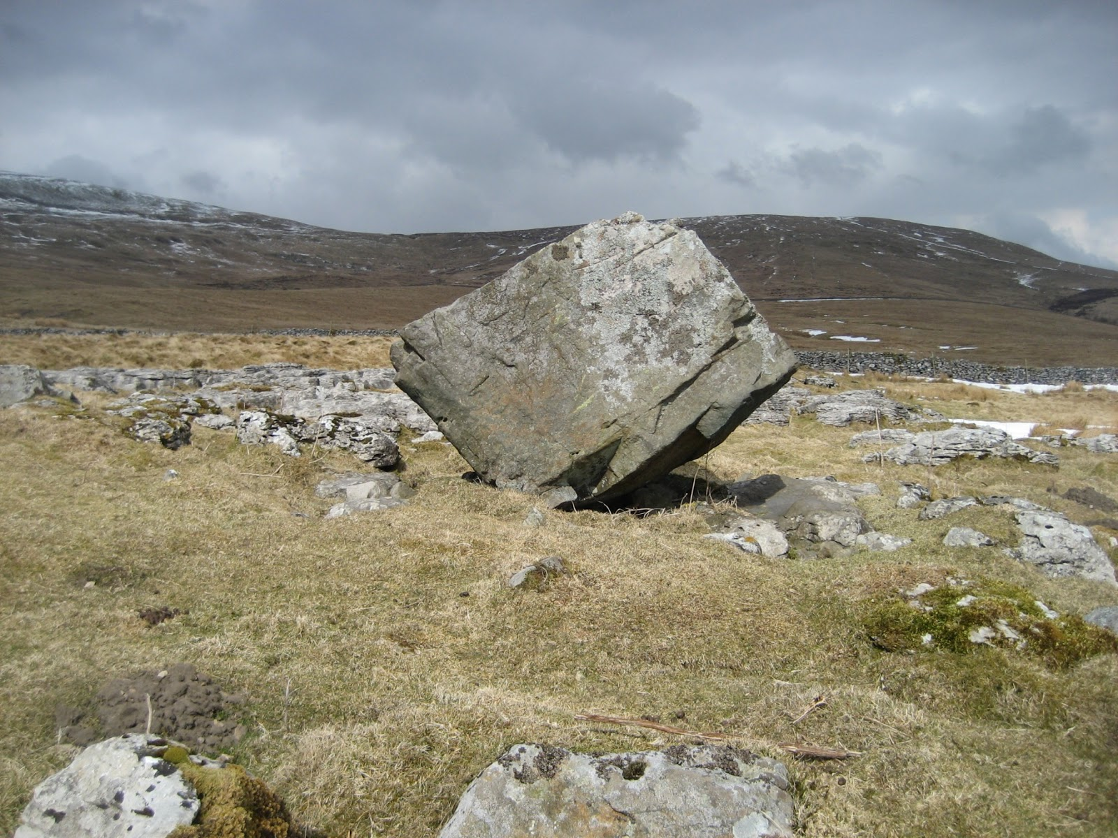 Erratic boulder deposited on the limestone above Selside by the Ribblesdale Glacier. Stephen Oldfield
