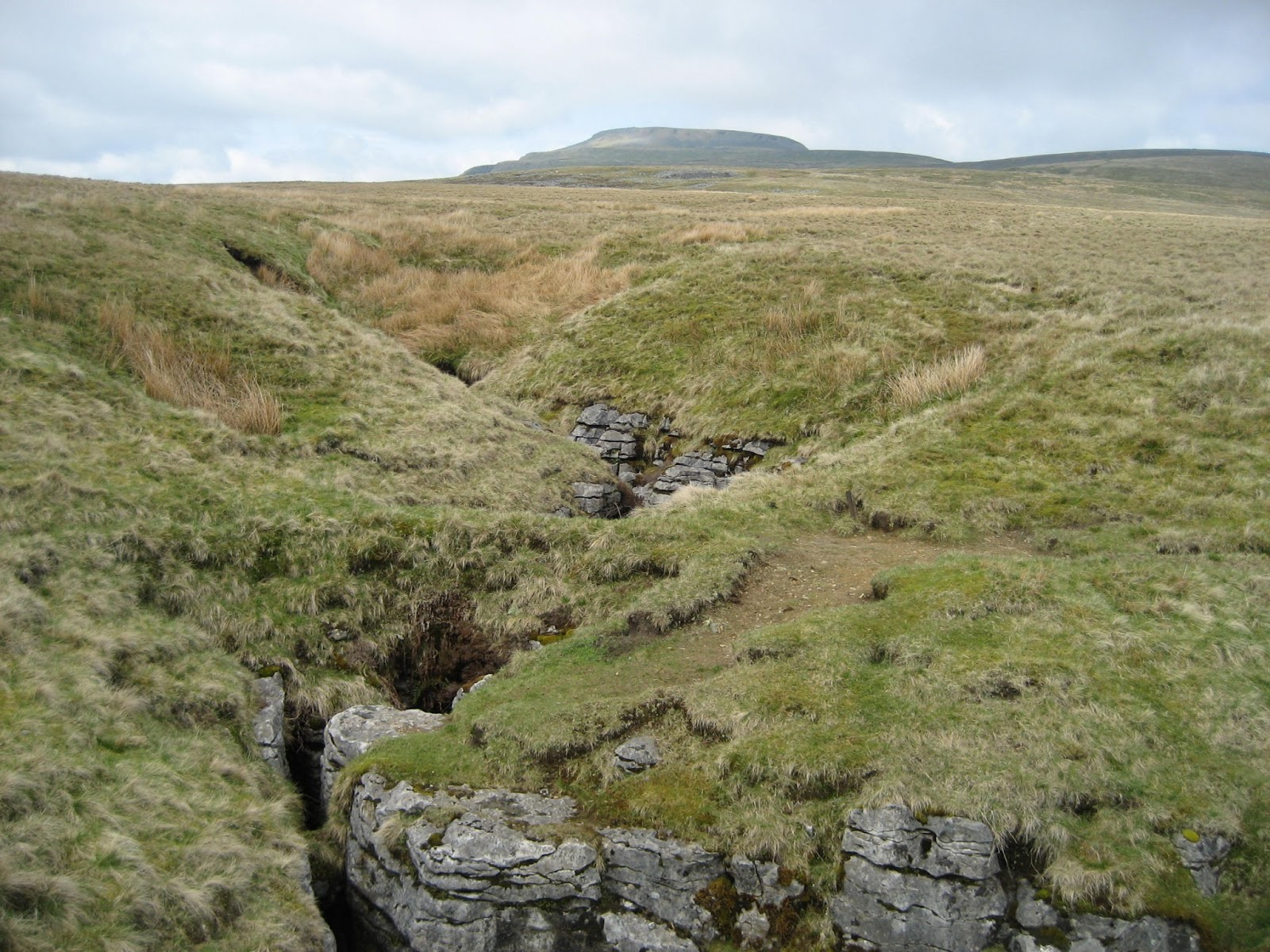 Long Kin West or the 'L' hole; horrifically deep and narrow, is largely unsuspected by walkers on Newby Moss – and is crossed by a narrow rock bridge. Stephen Oldfield