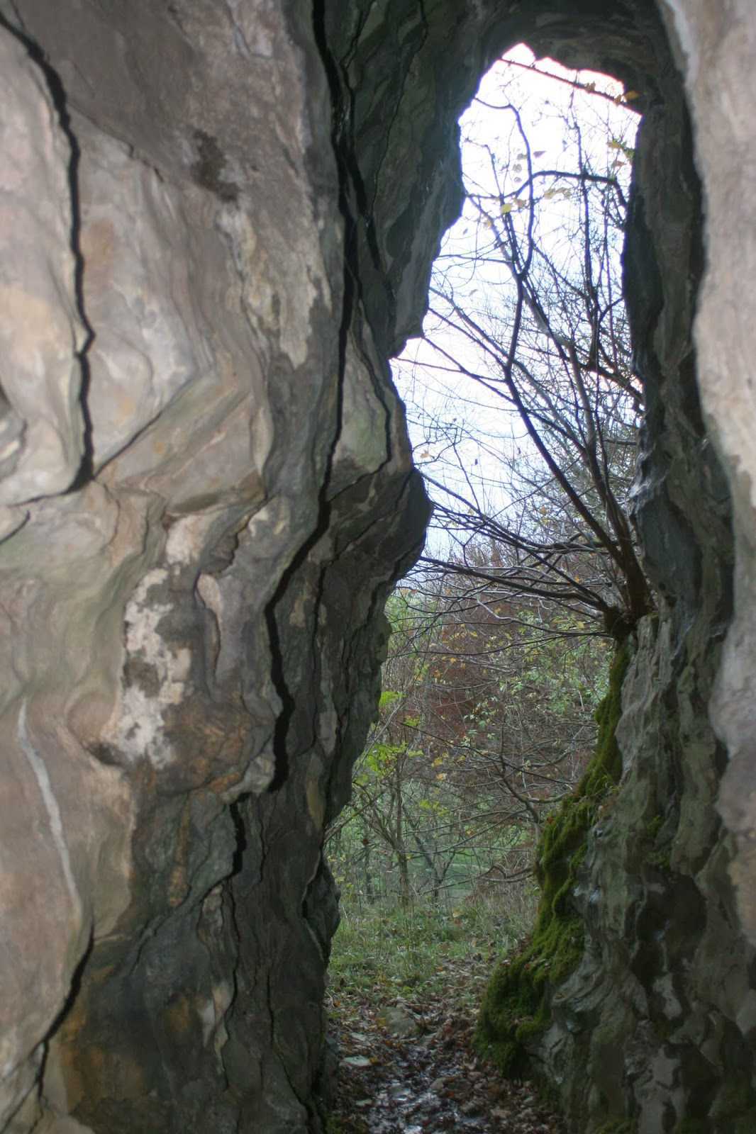 Greater Kelcow Cave and Lesser Kelcow Cave (below) where lengthy passages once extended much further to valley level, before the lowering of the water table by erosion and glacial action. Stephen Oldfield