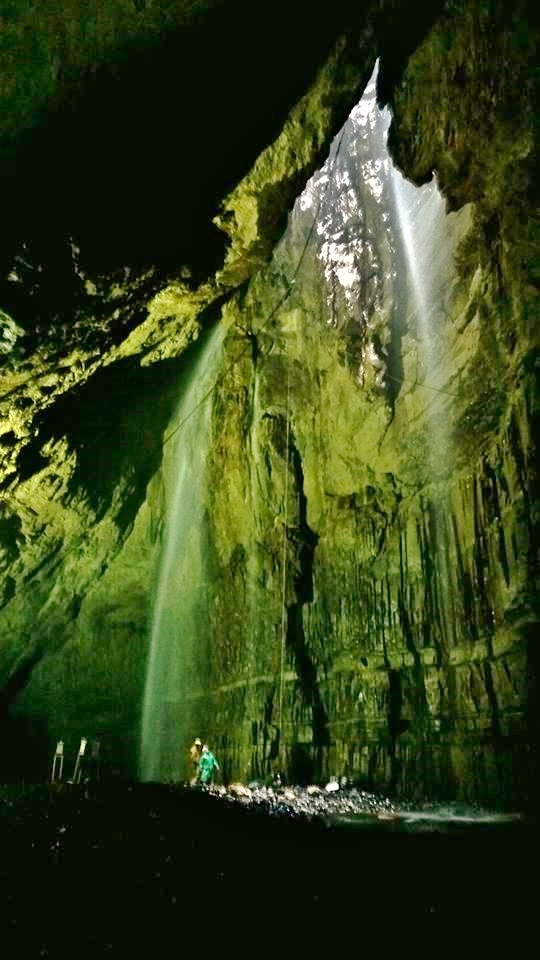Gaping Gill Main Chamber by floodlight. David Cunningham