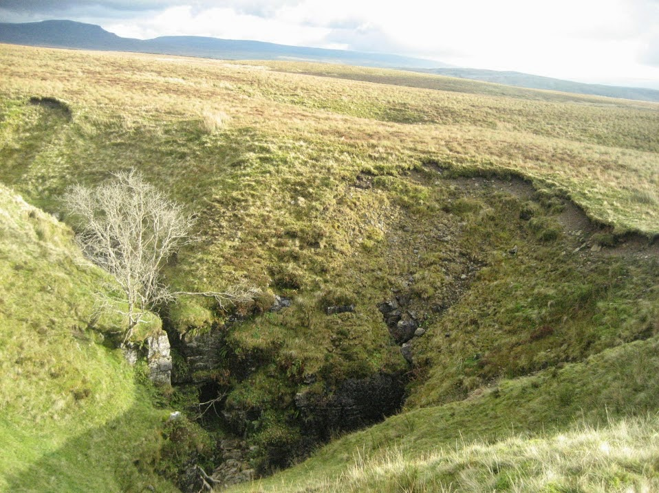 Marble Pot, a massive subsidence doline or 'shakehole' on the till-covered south-east flank of Ingleborough. Stephen Oldfield