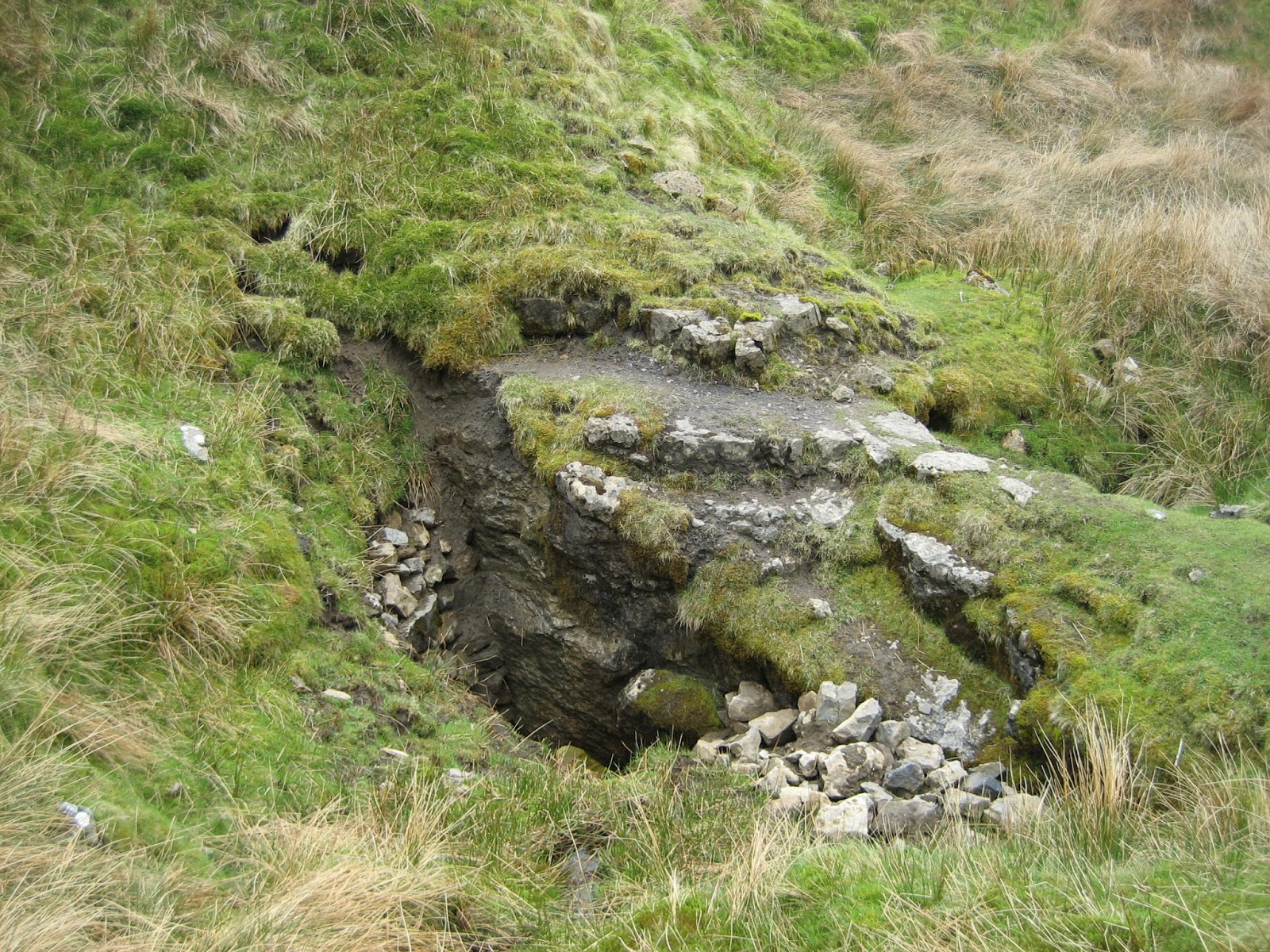 Newby Moss Pot, lying on a fault to the east of Grey Wife Sike: The bridge-like structure marking the entrance. Stephen Oldfield