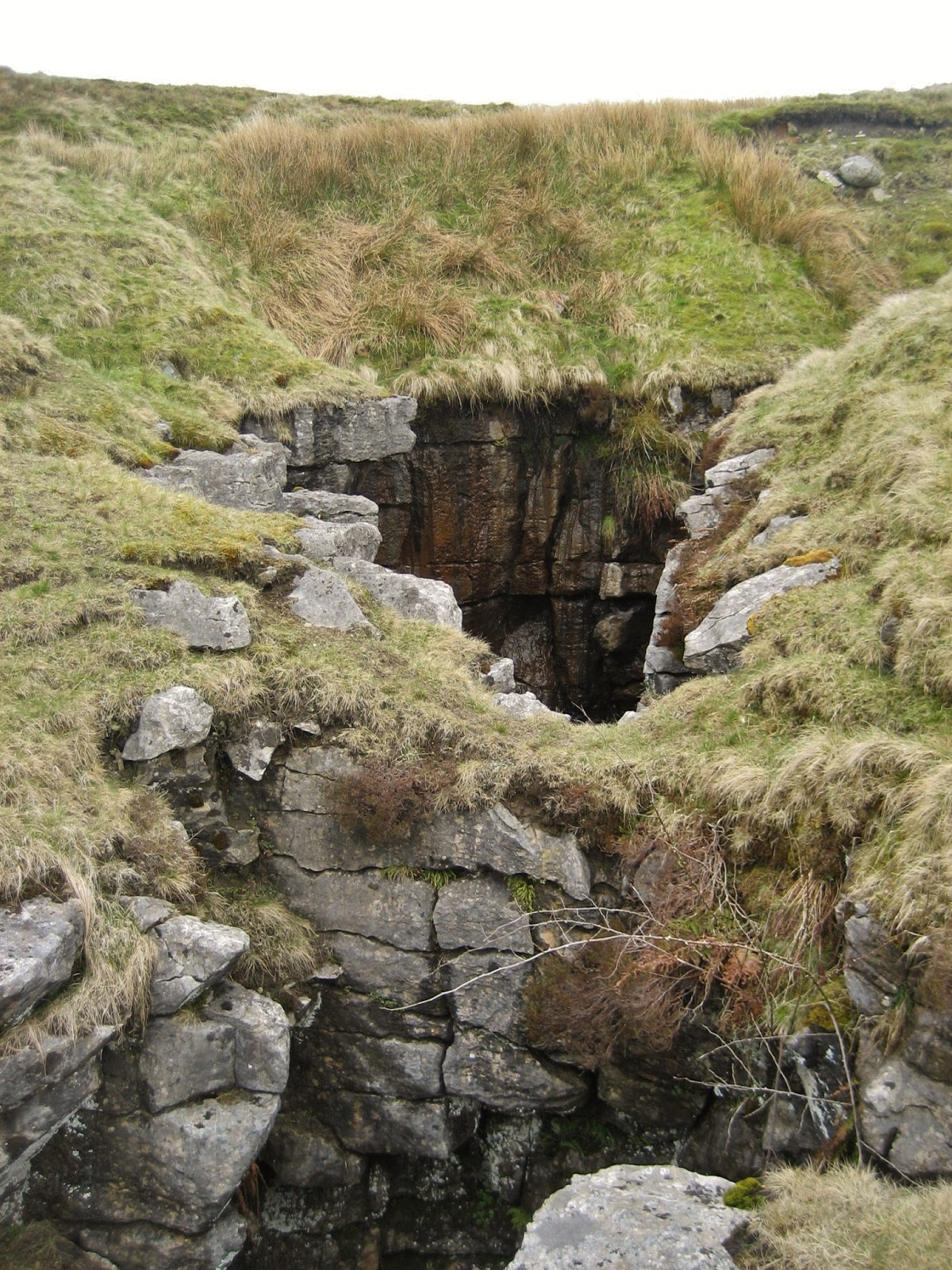 Boggart's Roaring Holes, named by the Balderstons in 'Ingleton Bygone and Present' (1888) for the strange sounds, 'something between a roar and a growl' produced by throwing stones into the gloomy depths. Stephen Oldfield