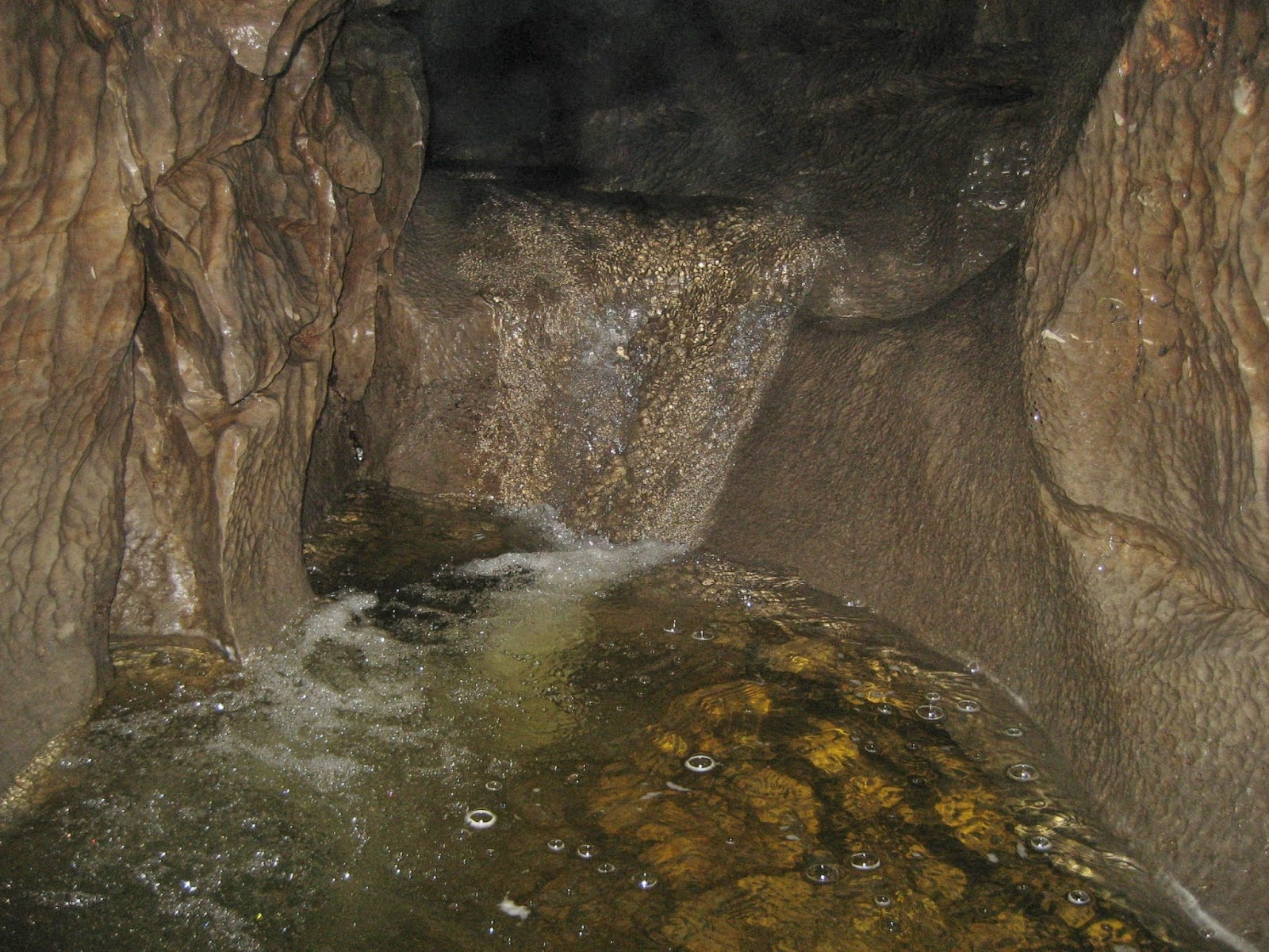 Cascades inside Upper Long Churn Cave, where water has exploited weaker beds to drop to a new level. Stephen Oldfield