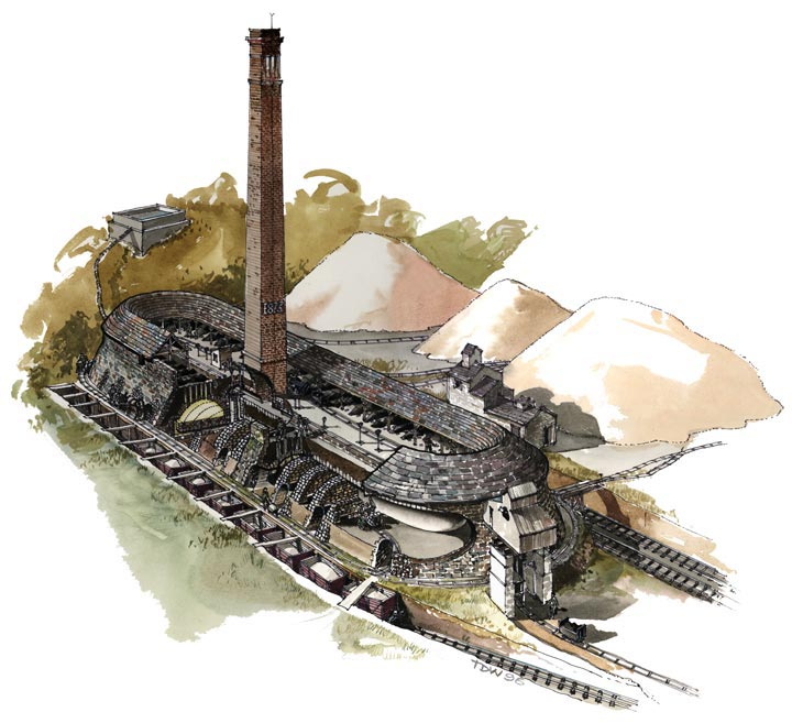 Reconstruction showing the Hoffmann Kiln at Craven Lime Works